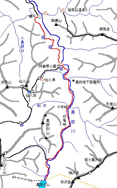 [地図]黒部川・下の廊下